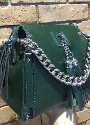 Женская кожаная сумка в зеленом цвете , натуральная кожа
