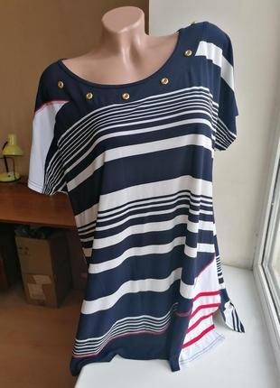 Блузка футболка в морском стиле полосатая в полоску батал боль...