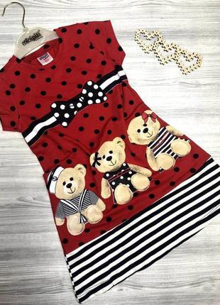 Платье для девочки bears красное 3857