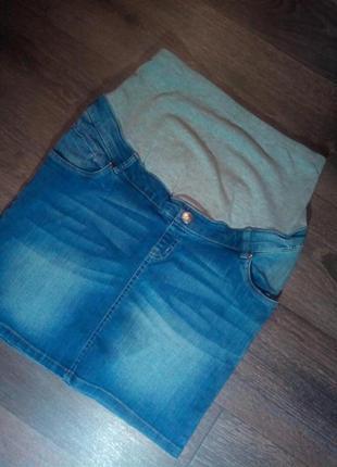 Джинсовая юбка для беременных девочек.