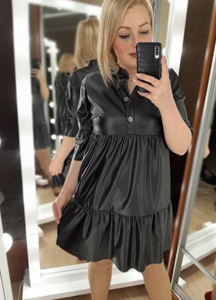 Красивое платье платице под кожу черное цвета в ассортименте