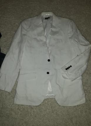 Белоснежный пиджак лен р.50