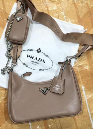 Женская сумка в ст. prado прада милано двойка кожа