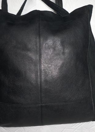 Стильная обьемная сумка шоппер натуральная кожа + замшевая кожа