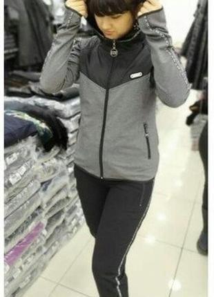 Костюм женский eze трикотажный серый чёрный с капюшоном