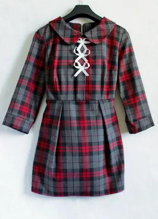 Платье мини в красно-серую клетку размер S
