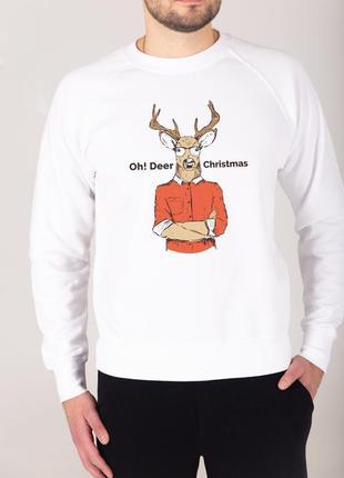 Теплый мужской свитшот ⛄️ новогодний свитер с оленем