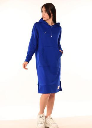 Платье-худи синего цвета
