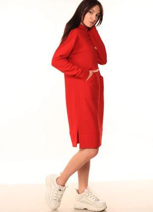 Платье-худи красного цвета