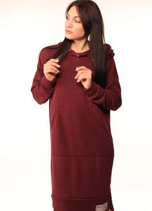 Платье-худи бордовое