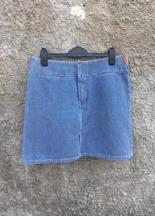 Джинсовая мини юбка в полоску полосатая