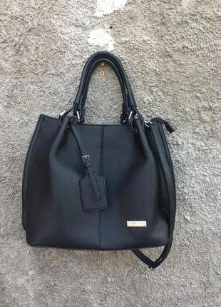Черная сумка с длинным ремешком с короткими ручками eynooer