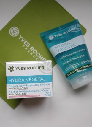 Набор(увлажняющий крем+гель )-hydra vegetal ив роше  Yves Rocher