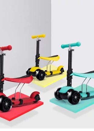 Детский трехколесный самокат-беговел с системой поворота