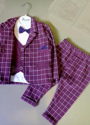 Нарядный и стильный костюм тройка  для мальчика в клетку