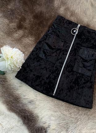 Барзатная юбка трапеция на молнии с кольцом