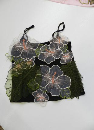 Майка шифон  цветы органза