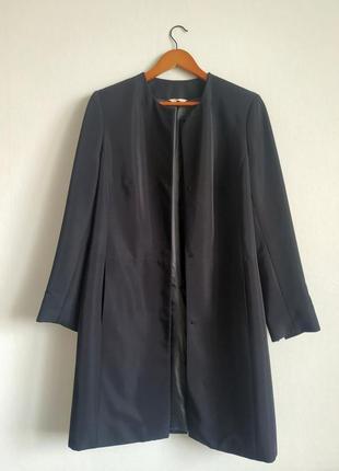 Стильное прямое тонкое пальто размер 14 длинный пиджак