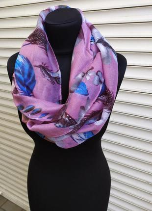 Снуд круговой шарф хомут розовый