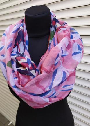 Легкий снуд круговой шарф хомут розовый