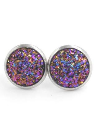 Серьги гвоздики фиолетового цвета