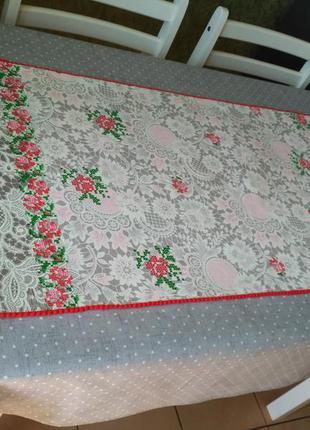 Скатерть серая в горох + дорожка раннер розы текстиль для кухни