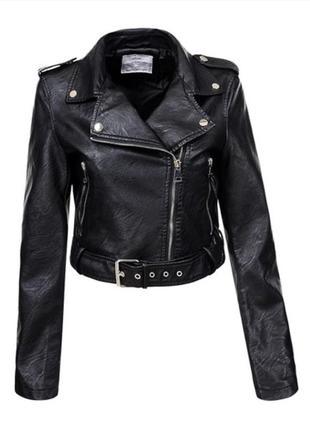 Стильна укорочена курточка, косуха, еко-шкіра