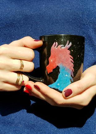 Подарок чашка с декором космический Дракон кружка из полимерной г