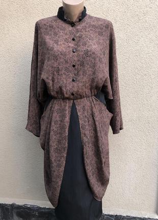 Винтаж,платье комбинированное,реглан,летучая мышь,