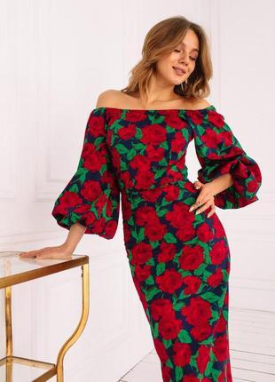 Платье женское с цветами
