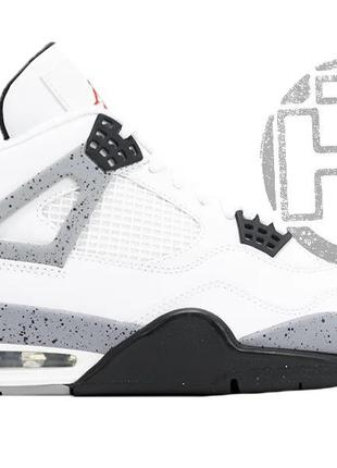 Мужские кроссовки air jordan 4 white cement grey white black 3...