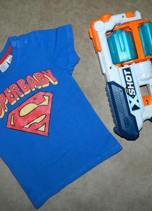 Футболка детская синяя super baby супермен на мальчика 1,5-2 г...