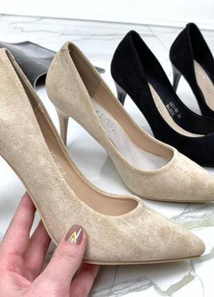 Замшевые туфли лодочки на каблуке,чёрные замшевые туфли,бежевы...