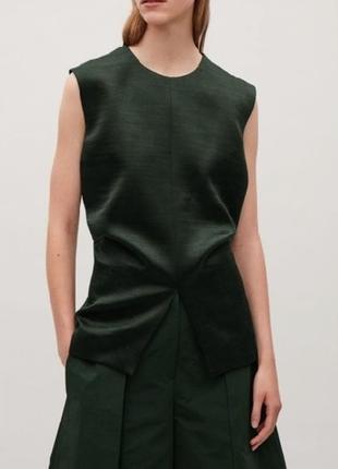 Cos блуза блузка темно - зеленая