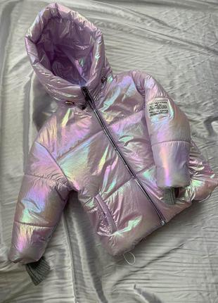 Демисезонная голографическая куртка фольга голограмма