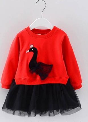 Платье детское с лебедем красный верх 2362