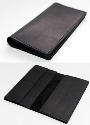 Тонкий кошелек из натуральной винтажной кожи черный