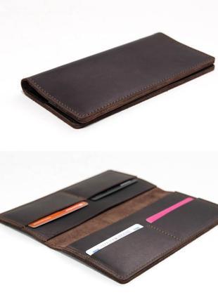 Тонкий кошелек из натуральной винтажной кожи шоколадного цвета