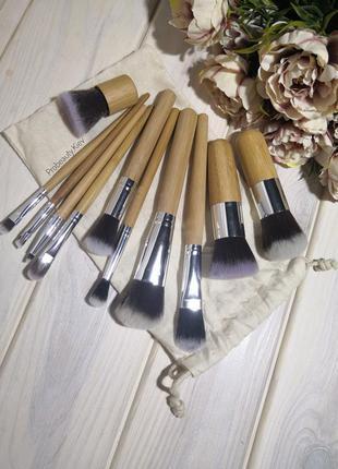 11 шт. кисти для макияжа набор таклон ручки бамбук в льняном м...