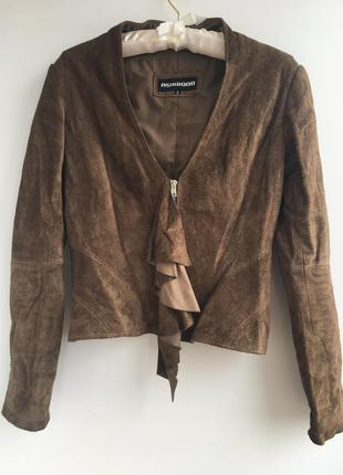 Стильный приталенный замшевый кожаный пиджак курточка куртка, ...