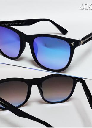 Мужские очки  armani черные с линзами зеркальными