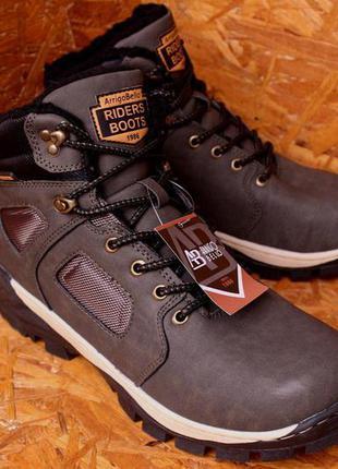 Ботинки зимние мужские хаки кежуал
