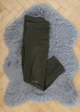 Джинсы цвета хаки, рваные джинсы, штаны, брюки