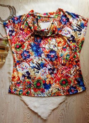 Цветная блуза футболка оверсайз с воротником цветочный принт с...