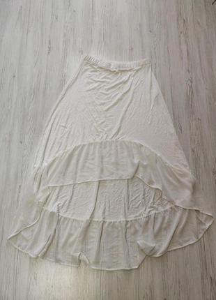 Распродажа до 30 мая🔥 белая юбка со шлейфом на резинке