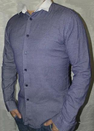 Отличная zara man рубашка мужская М 48 длинный рукав slim fit