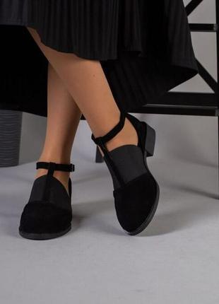 Черные замшевые туфли с резинкой низкий каблук