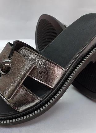 Распродажа!стильные кожаные сабо,шлёпанцы металик terra grande