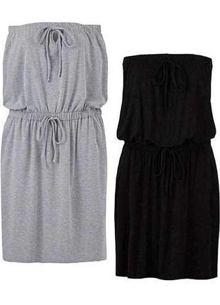 Серое трикотажное платье бюстье с карманами 22/56-58 размера