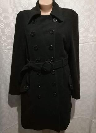 Пальто шерстяное  весеннее с поясом большой размер 50-52